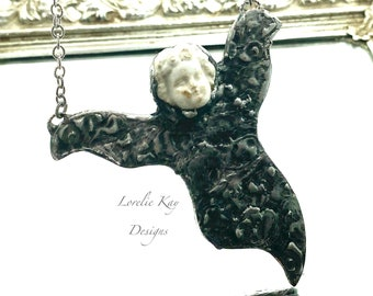 Frozen Charlotte Ghost Necklace Soldered Halloween Ghost Girl Statement Necklace Lorelie Kay Original