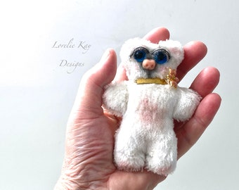 Flower Tiny Miniature Bear Handmade Mohair Velvet Stuffed Animal Lorelie Kay Original