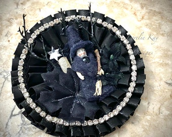 Tiny Frozen Charlotte Witch Halloween Brooch Or Ornament Large Girly Rhinestone  Holiday Wearable Art  Broach Lorelie Kay Original