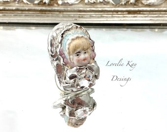 Bisque Doll  Head Ring Tiny Bonnet Doll German Doll Head Fine Silver Plated Lorelie Kay Designs Doll Jewelry