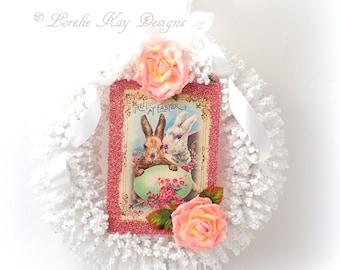 Easter Wreath Easter Bunny Decoration White Bunny Romantic Cottage Wall Door Wreath Lorelie Kay Original