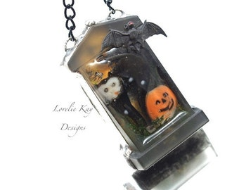 Black Cat & Pumpkin Tombstone Necklace Soldered Cast Resin Miniature Graveyard Pendant Lorelie Kay Original