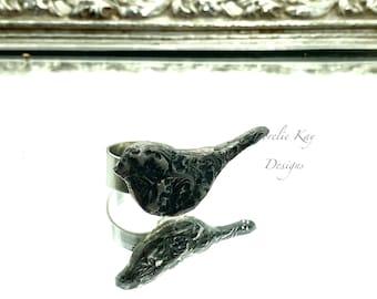 Little Silver Bird Ring Metal Small Bird Lorelie Kay Original