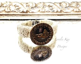 Art Nouveau Women Antique Button Bracelet Shabby Floral Metal Button Clamper Cuff Bracelet Style Lorelie Kay Original