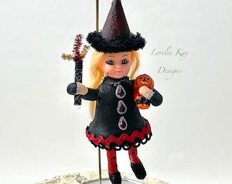Flame Witch Doll Ornament Halloween Spun Cotton Doll Halloween Ornament Lorelie Kay Original