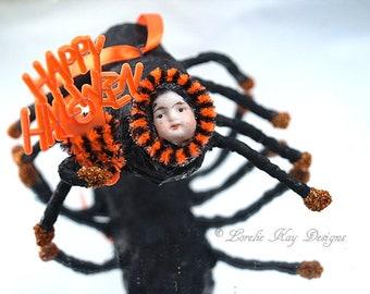 Happy Halloween Spider Doll Spun Cotton Spider Vintage Inspired Halloween Feather Tree Ornament Decoration Lorelie Kay Original