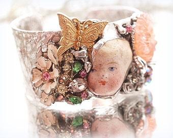 Spring Cuff Bracelet Doll Head Bracelet Soldered Cuff Rhinestones Wearable Art Statement Bracelet