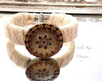Antique Button Bracelet Shabby Floral Metal Button Clamper Cuff Bracelet Style Lorelie Kay Original