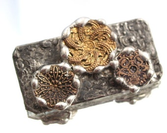 Antique Button Brooch Soldered Victorian Button Assemblage Necklace
