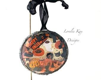 Happy Halloween Cat & Pumpkin Halloween Diorama Ornament Soldered Glass OOAK Halloween Decoration