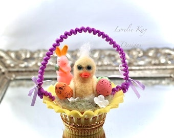 Chick Easter Ornament Doll Needle Felted  Tiny Chicken Ornament Lorelie Kay Original
