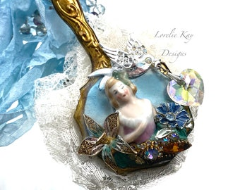 Romantic Garden Necklace Fa Mirror Necklace Wearable Doll Necklace Wearable Art Nouveau Lorelie Kay Designs Original