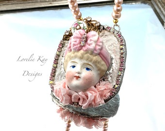 Parian Doll & Pearl Necklace Soldered Bisque Doll Dolly Pendant One-of-a-Kind Pendant Lorelie Kay Original