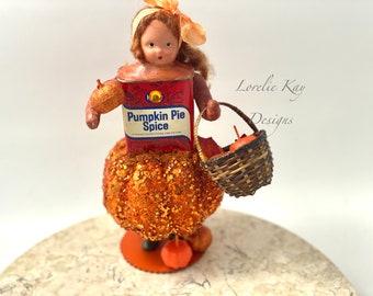 Pumpkin Pie Spice Tin Art Doll Box Miniature Assemblage Art Doll Sculpture Kitchen Art Spice Tin Decoration Lorelie Kay Original