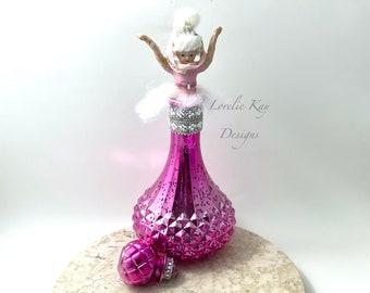 Genie in a Bottle Art Doll Sculpture Spun Cotton Doll Blonde Genie Girl Lorelie Kay Original