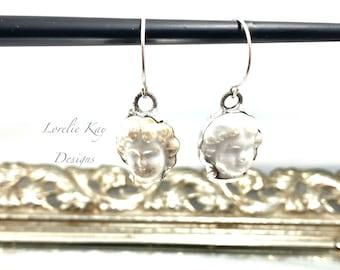 Small Frozen Charlotte Doll Head Earrings Silver Soldered Organic Earrings Dangle Soldered Earrings