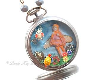 The Faeries Garden Necklace Cast Resin Tiny Fairy Pocket Watch Pendant Lorelie Kay Original