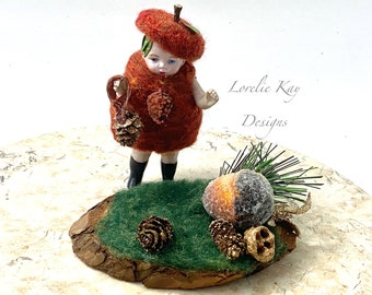 Lil Acorn Needle Felted Doll Fall Theme Decoration Miniature Jointed German Doll Parts Dollhouse Doll Lorelie Kay Original