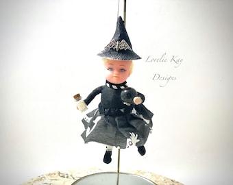 The Sorceress Witch Doll Ornament Halloween Spun Cotton Doll Halloween Ornament Lorelie Kay Original