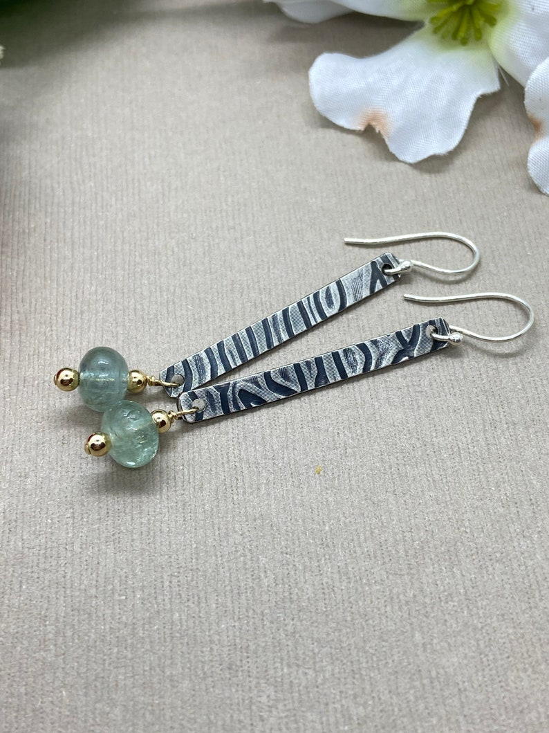 Lean Textured Sterling Silver Stick Dangles with Natural Aquamarine with 14k GF