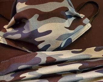Set of blue camo print fabric masks