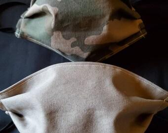 Set of tactical camo print fabric masks