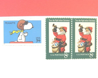 Christmas Postage Stamps Snoopy Flies With Santa Mail 10 Cards 1 Oz Claus Unused Bonus Seals
