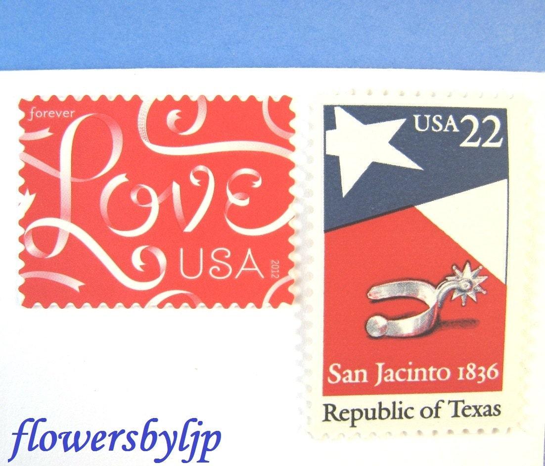 Texas Wedding Postage Stamps Love Ribbon Red Texas Flag | Etsy
