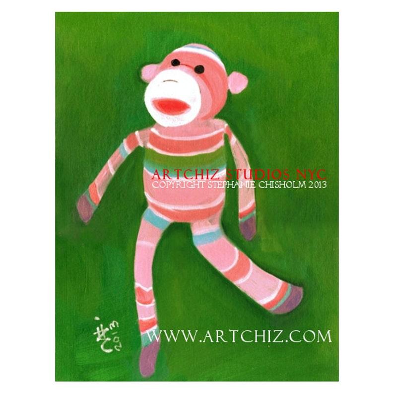Sock Monkey Art Print. Rainbow. Baby Shower Gift. image 0