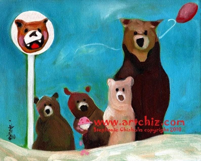 Strawberry Ice Cream. Bear Art. Family of Brown Bears. Saphire image 0