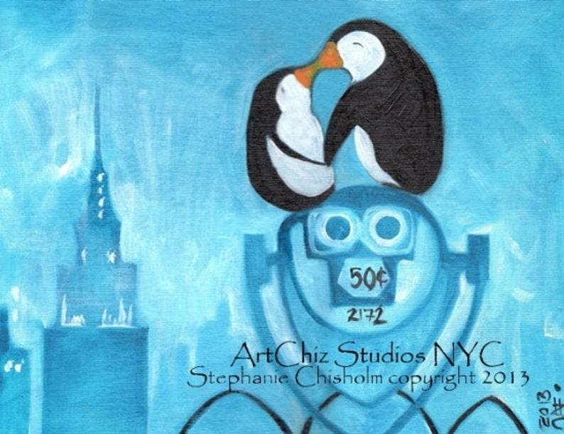 Manhattan Fog. Penguin Art Print. Two Penguins Kissing in NYC. image 0