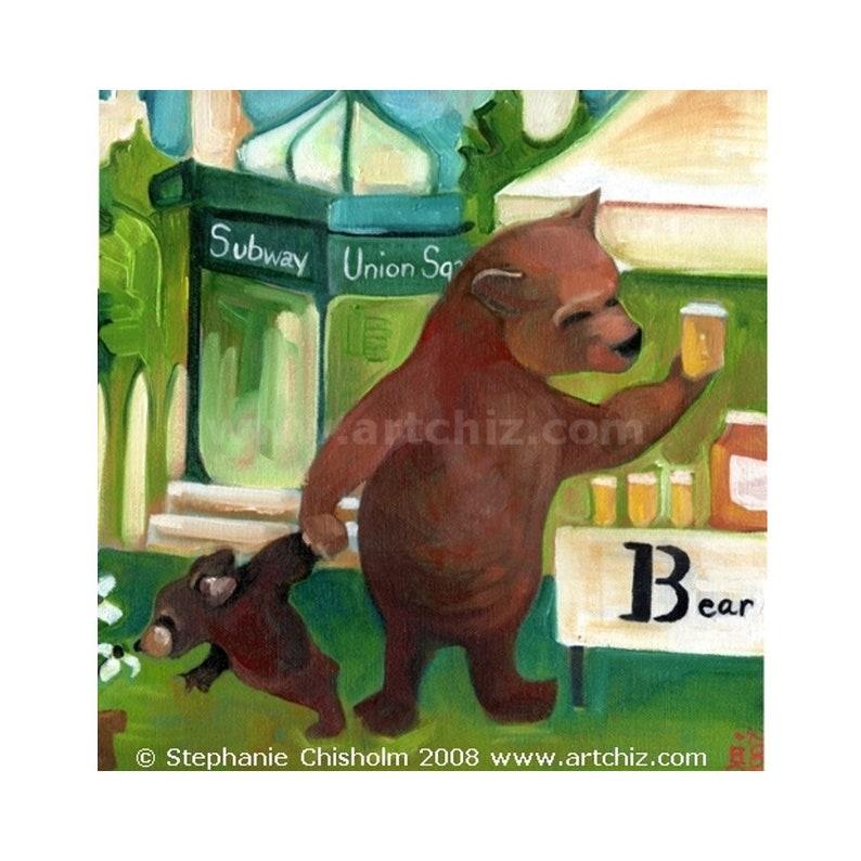 Brown Bear Art.  B for Bear.  Alphabet Animal Art. Baby image 0
