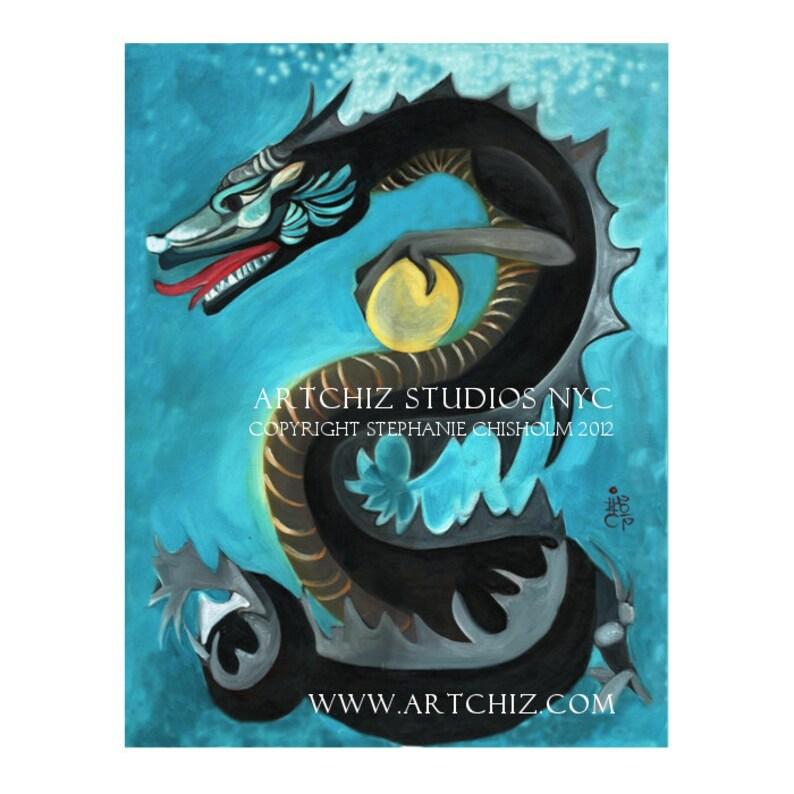 Black Water Dragon  Chinese Zodiac  Year of The Dragon  Art Print  Chinese  New Year  Wall Art  Birth Year  Dragon Art