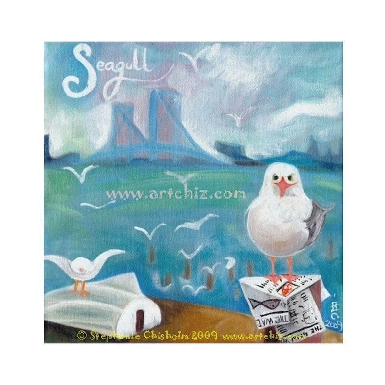 S for Seagull. Alphabet Bird.  Nautical Art. Seagull on Long image 0
