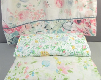 vintage pink floral sheet set full double 60s 70s top etsy