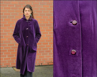 Long Velvet Coat Purple Velvet Coat Large Velvet Coat Velvet Swing Coat Crushed Velvet Coat 1960s Velvet Coat Jewel Tone Coat