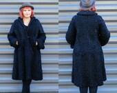 Large, Real Fur Coat, Persian Wool, 1950s Coat, Womens Winter Coat, Wool Coat, Winter Coat, Gift for Her, Full Length Coat, FREE SHIPPING