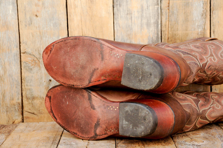 Nocona bottes Santiag cuir UE bottes Western bottes UE cuir 43 bottes de cowboy Santiags western usure des années 70 bottes 80 s bottes des années 90 52edcb