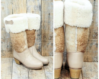 fur boots snow boot winter boots leather boots shearling boots 1970s boots uk 4 boots eu 37 boots