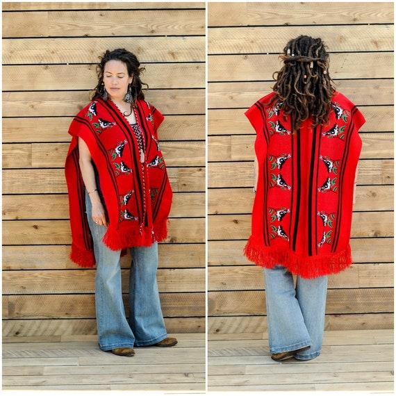 large, 1960s poncho, womens red poncho, vintage ac