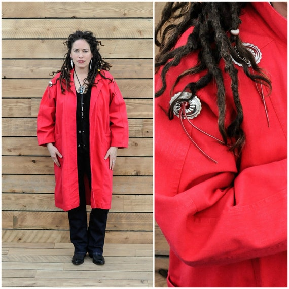 Large, vintage western duster, long red duster, 19