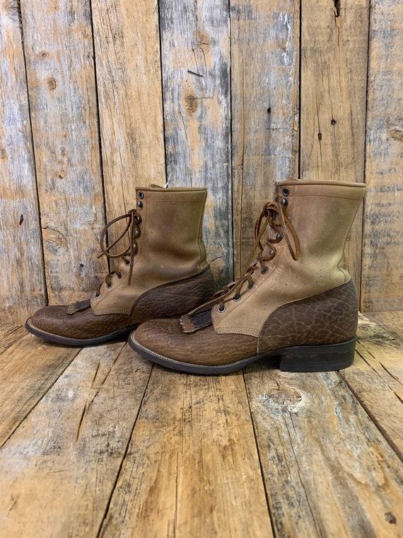 Mens 7D, ankle boots, lacer boots, vintage cowboy