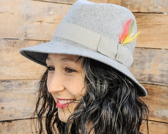 vintage millinery Trilby Hat Jazz Hat Fedora Grey Hat Wool Hat Wide Brim Hat Womans Vintage Hat Sun Hat Musician Hat Kentucky Derby Hat