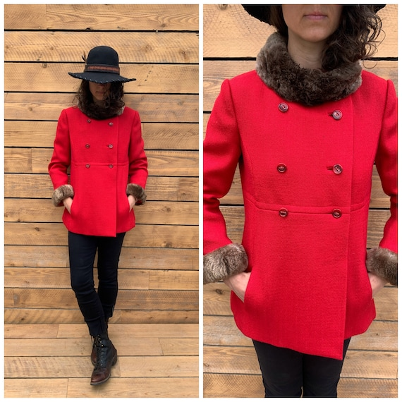 xs, wool winter coat, red winter coat, 1950s winte