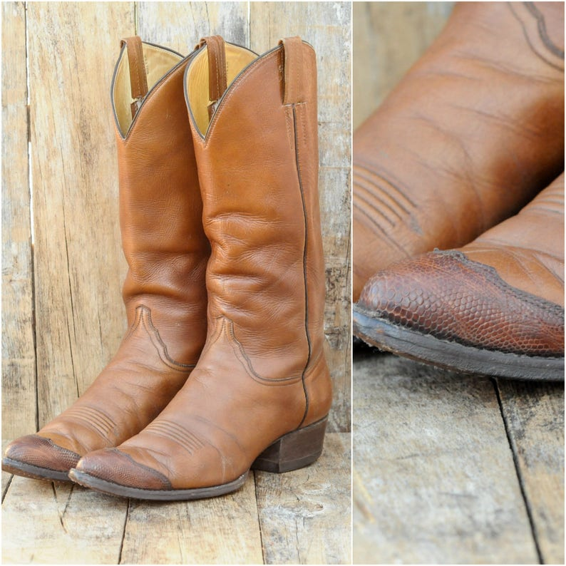 d4d434a3f0f Us 9.5, vintage cowboy boots, leather boots men, western boots, handmade  boots, Mexico made in excellent condition, FREE SHIPPING