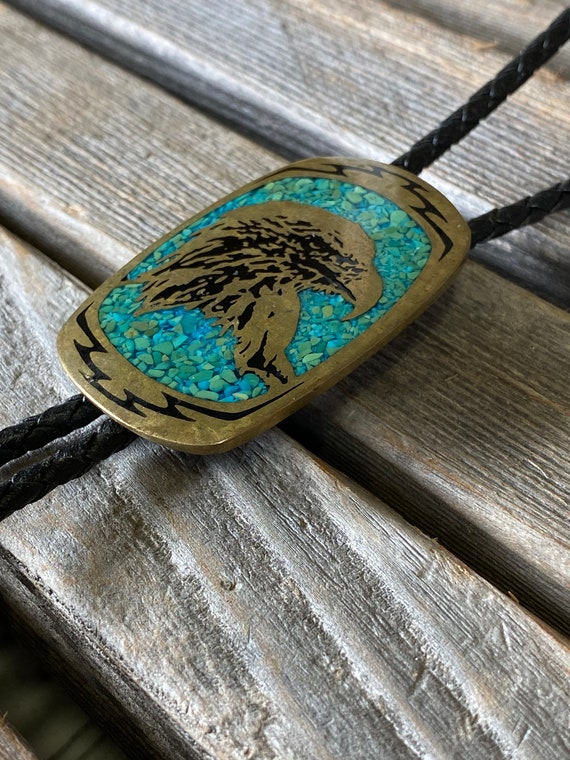 real turquoise cabochon, eagle bolo tie, brass bol