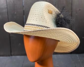 Size small, straw cowboy hat, custom straw hat, white straw hat, vintage cowboy hat, custom cowboy hat, large straw hat, FREE USA SHIPPING