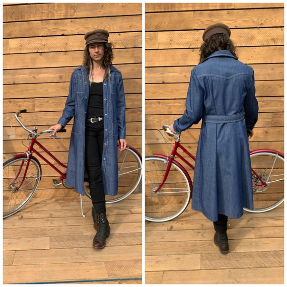 XL, denim duster, long denim jacket, western duste