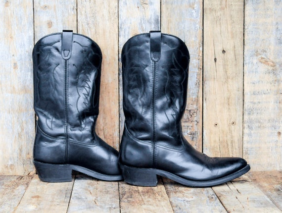Us 11, biker boots, motorcycle boots, leather boots men, vintage cowboy boots, western boots, work boots, rubber sole boots,