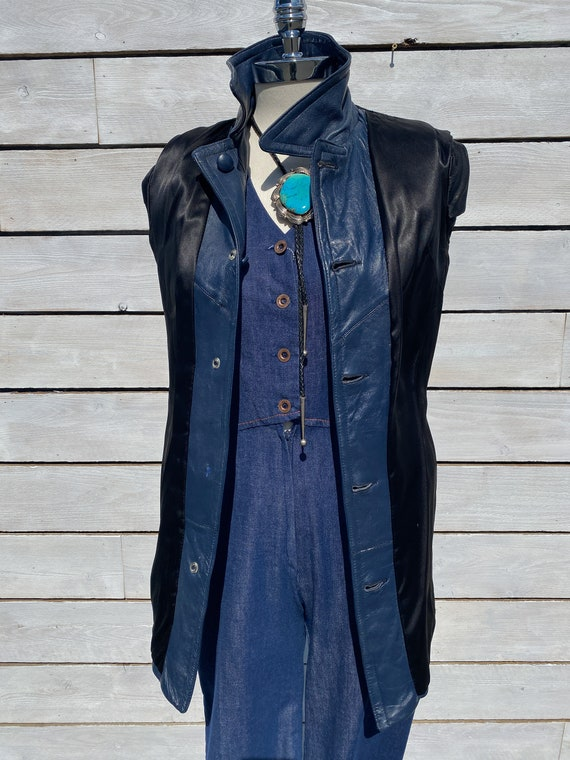 XS, leather trench coat, 1970s trench coat, FREE … - image 9